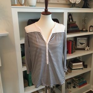 H&M Striped V Neck Top.  EUC.  Size Small